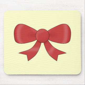 Red Ribbon Bow. On Cream. Mouse Pad