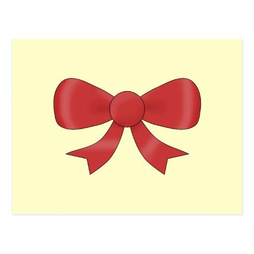 Red Ribbon Bow. On Cream. Postcard