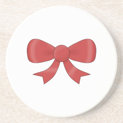 Red Ribbon Bow. On White. Beverage Coaster
