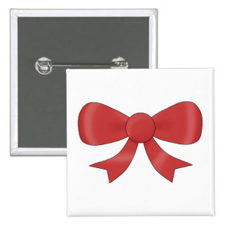 Red Ribbon Bow. On White. Button
