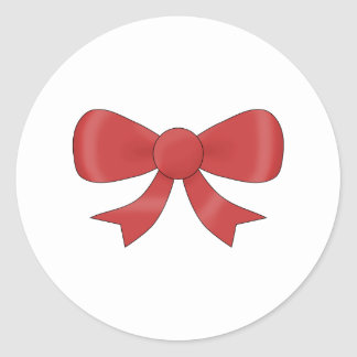 Red Ribbon Bow. On White. Classic Round Sticker