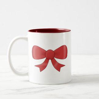 Red Ribbon Bow. On White. Coffee Mug
