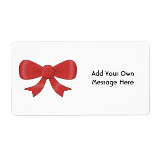 Red Ribbon Bow. On White. Custom Text Label