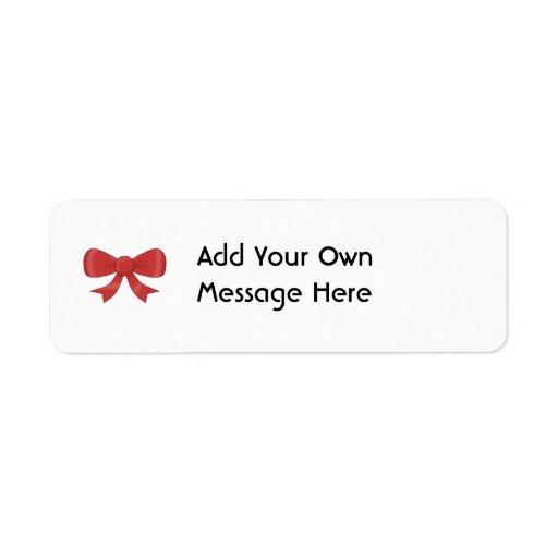 Red Ribbon Bow. On White. Custom Text Return Address Labels