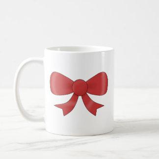 Red Ribbon Bow. On White. Custom Text Mugs
