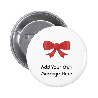 Red Ribbon Bow. On White. Custom Text Pinback Button