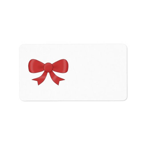 Red Ribbon Bow. On White. Address Label