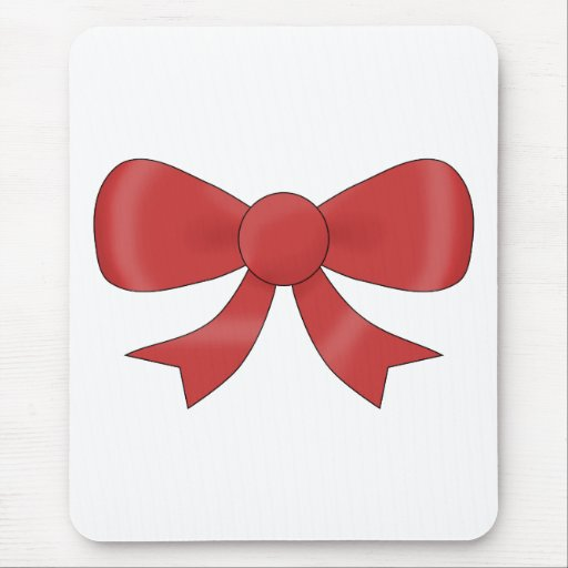 Red Ribbon Bow. On White. Mouse Pad