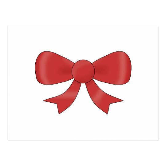 Red Ribbon Bow. On White. Postcard