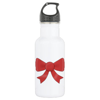 Red Ribbon Bow. On White. Stainless Steel Water Bottle