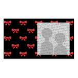 Red Ribbon Bow Pattern on Black. Custom Photo. Double-Sided Standard Business Cards (Pack Of 100)