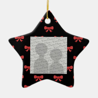 Red Ribbon Bow Pattern on Black. Custom Photo. Ceramic Ornament