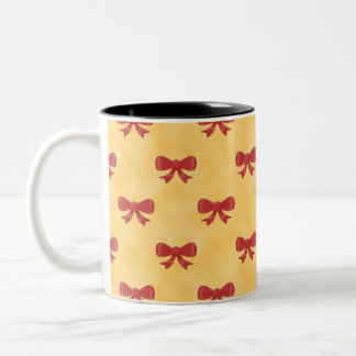 Red Ribbon Bow Pattern on Golden Yellow. Coffee Mug