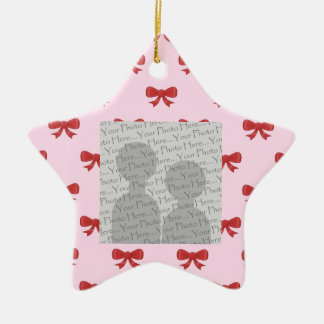 Red Ribbon Bow Pattern on Pink. Add Photo. Custom Ceramic Ornament
