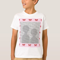 Red Ribbon Bow Pattern on Pink. Add Photo. Custom T-Shirt