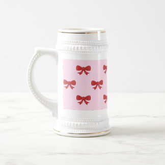 Red Ribbon Bow Pattern on Pink. Beer Stein