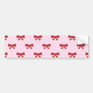Red Ribbon Bow Pattern on Pink. Bumper Stickers