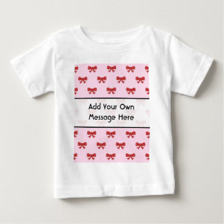 Red Ribbon Bow Pattern on Pink. Custom Text Baby T-Shirt