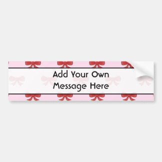 Red Ribbon Bow Pattern on Pink. Custom Text Bumper Stickers