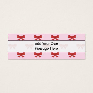 Red Ribbon Bow Pattern on Pink. Custom Text Mini Business Card