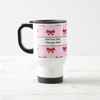 Red Ribbon Bow Pattern on Pink. Custom Text Travel Mug