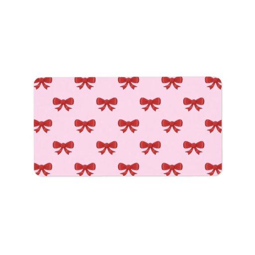 Red Ribbon Bow Pattern on Pink. Custom Address Label