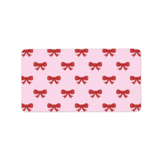 Red Ribbon Bow Pattern on Pink. Label