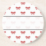 Red Ribbon Bow Pattern on White. Beverage Coaster