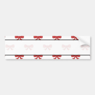 Red Ribbon Bow Pattern on White. Bumper Stickers