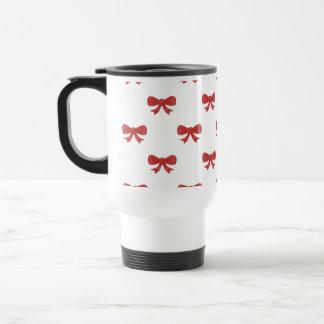 Red Ribbon Bow Pattern, on White. Coffee Mug