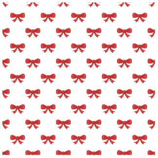Red Ribbon Bow Pattern, on White. Cutout