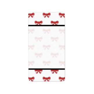 Red Ribbon Bow Pattern on White. Label