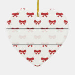 Red Ribbon Bow Pattern on White. Christmas Ornaments