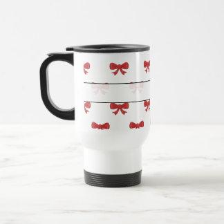 Red Ribbon Bow Pattern on White. Travel Mug