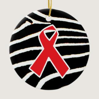 Red Ribbon Ceramic Ornament