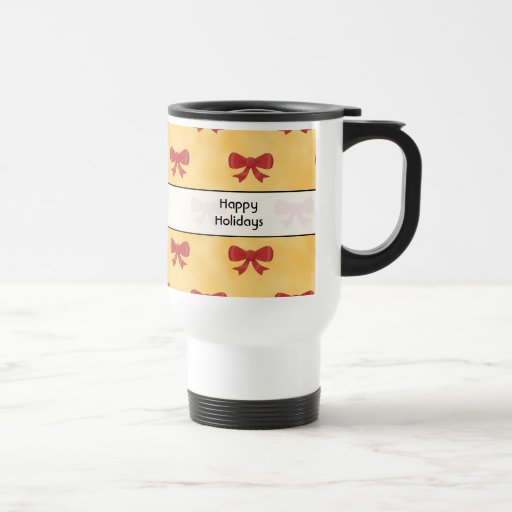 Red Ribbon Christmas Bows. Happy Holidays. Photo. 15 Oz Stainless Steel Travel Mug