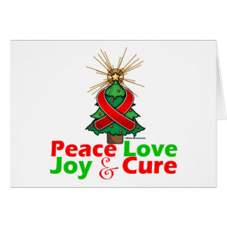 Red Ribbon Christmas Peace Love, Joy & Cure Greeting Card