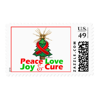 Red Ribbon Christmas Peace Love, Joy & Cure Postage Stamps