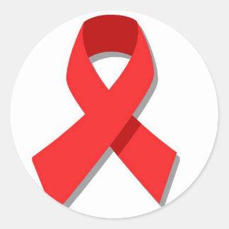 Red Ribbon Classic Round Sticker