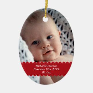 Red ribbon custom photo baby child birth statistic ceramic ornament
