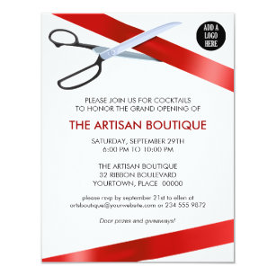Grand openings invitations zazzle red ribbon cutting grand opening card stopboris Images