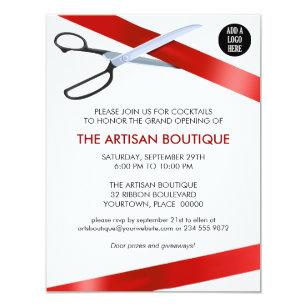 Grand openings invitations zazzle red ribbon cutting grand opening card stopboris Choice Image