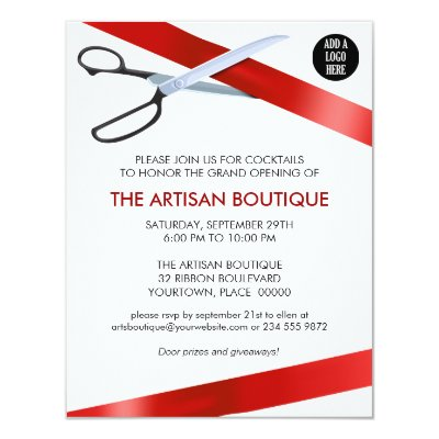 Simple red ribbon cutting grand opening card zazzle stopboris Gallery