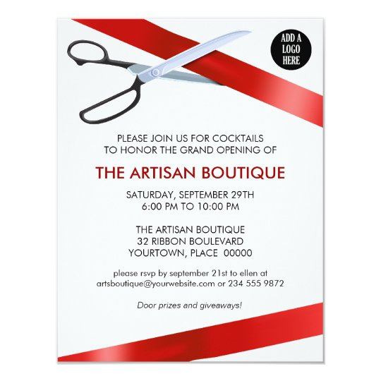 Red Ribbon Cutting Grand Opening Card – Inauguration Invitation Card Sample