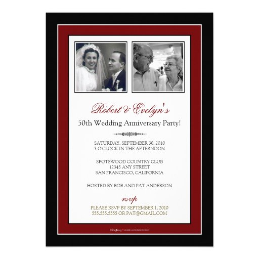 Red Ribbon Damask Anniversary Party Invitation (back side)