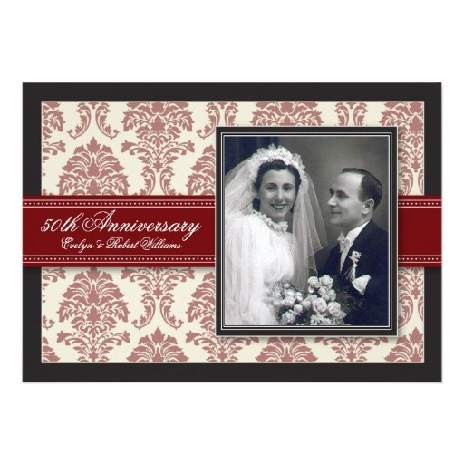 Red Ribbon Damask Anniversary Party Invitation
