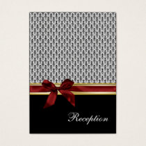 red ribbon damask Reception   Cards
