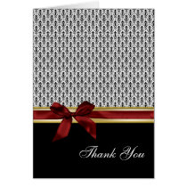 red ribbon damask romantic Thank You Card