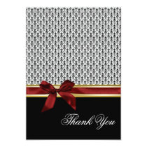 red ribbon damask Thank You Card