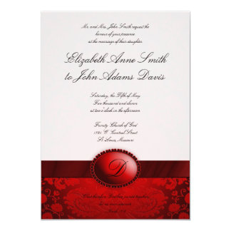 Red Ribbon Damask Wedding Invitation
